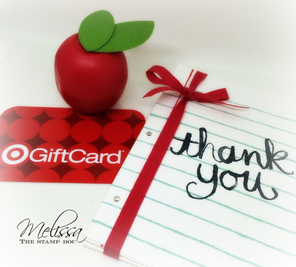 teacher appreciation made simple the stamp doc i tied up several of the note cards ribbon added some card stock leaves to an eos lip balm and rounded out my gift a gift card